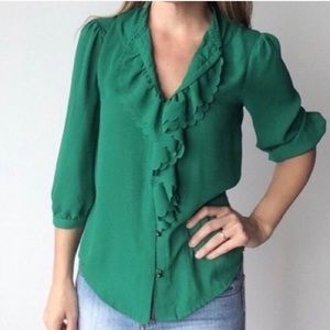 HD in Paris Anthropologie Ruffled Picea Green Top